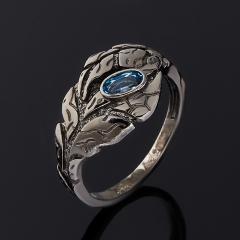 Кольцо топаз голубой Бразилия (серебро 925 пр. родир. черн.) огранка размер 17,5