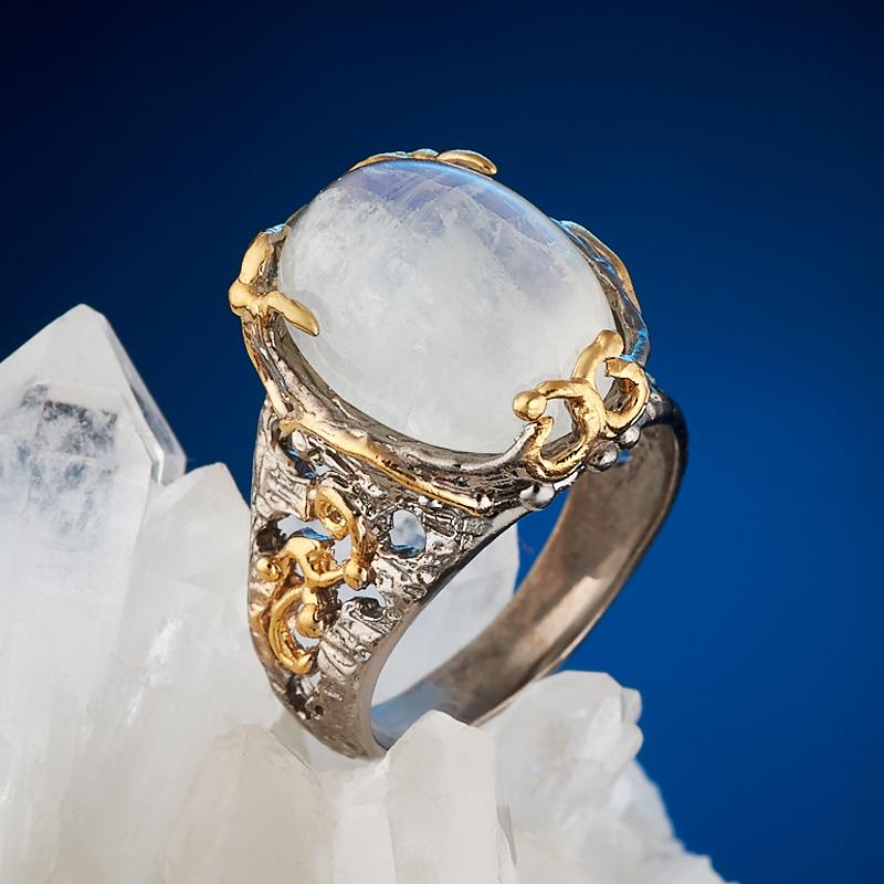 Кольцо лунный камень (серебро 925 пр., позолота) размер 17,5 ar535 925 чистое серебро кольцо 925 серебро ювелирные изделия кокосовый орех вал инкрустированные красный камень bdbajuia dsyamkfa