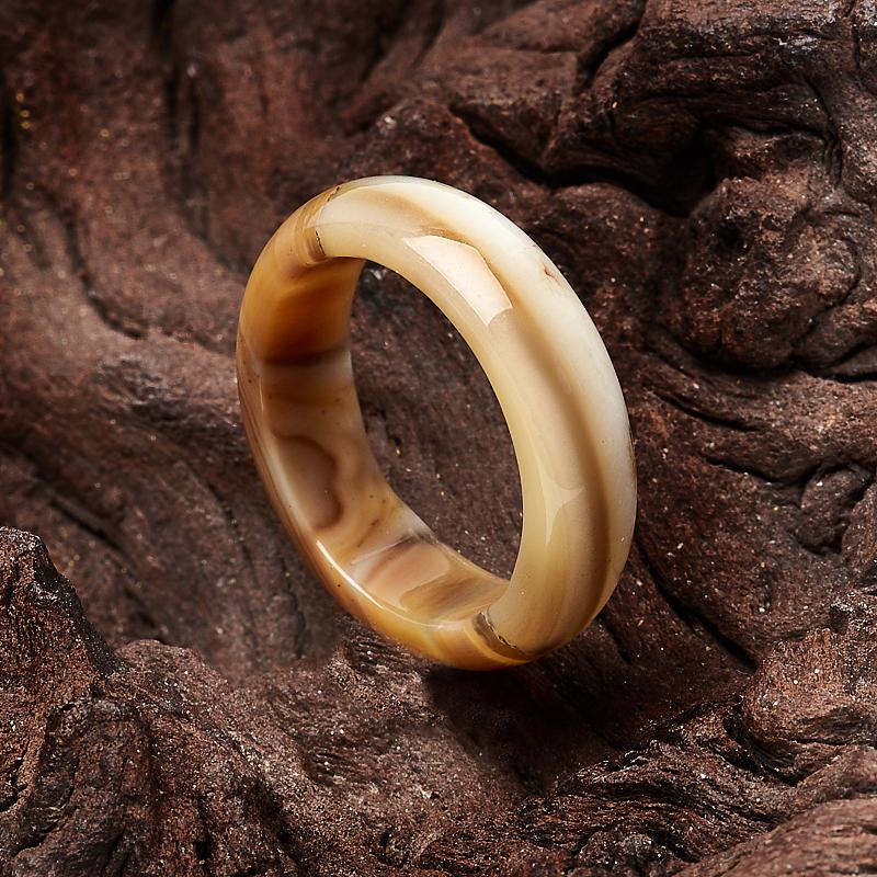 Кольцо агат коричневый (цельное) размер 17,5 кольца колечки кольцо лерос агат