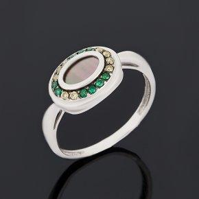 Кольцо перламутр серый Индонезия (серебро 925 пр.) размер 17