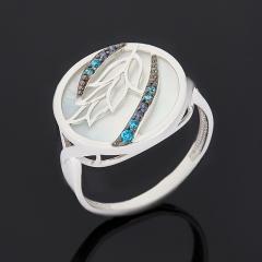 Кольцо перламутр белый Индонезия (серебро 925 пр. родир. бел. родир. черн.) размер 18