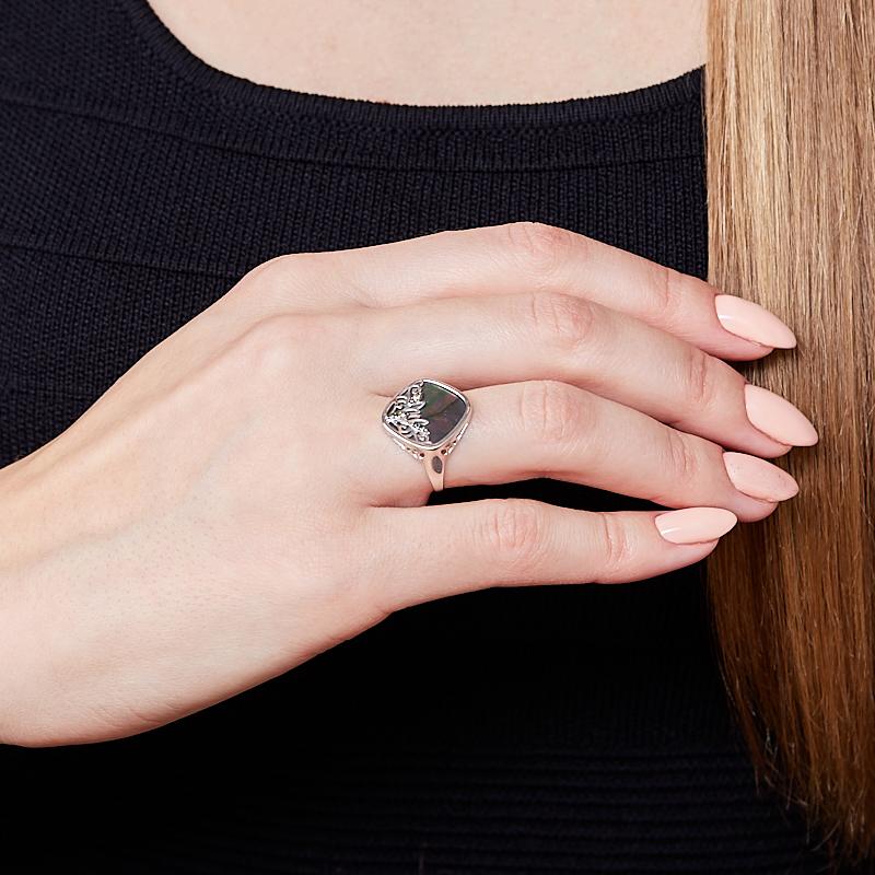 Кольцо перламутр серый Индонезия (серебро 925 пр. родир. бел. родир. черн.) размер 18
