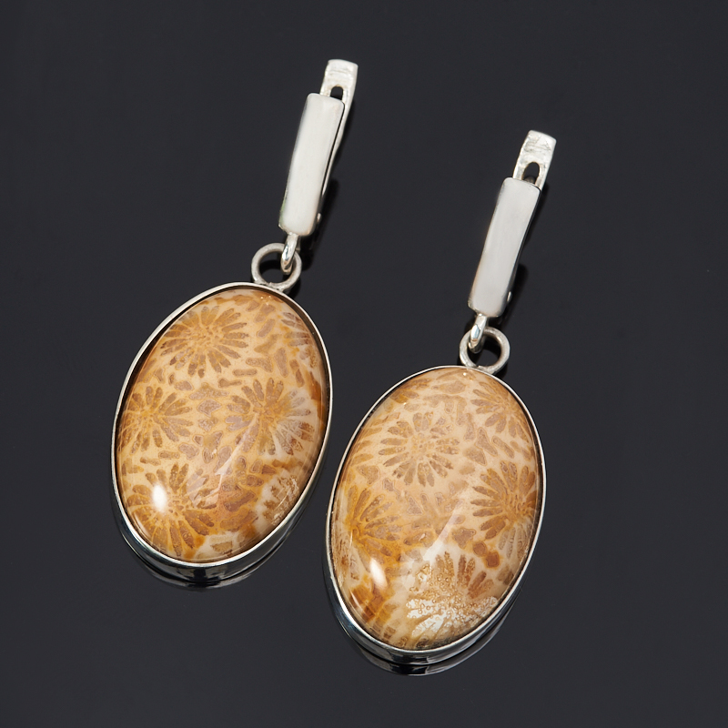 Серьги коралл (серебро 925 пр.)