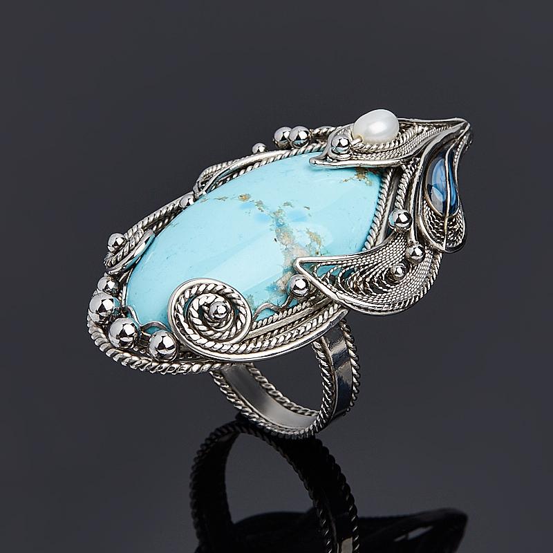 Кольцо бирюза Казахстан (нихром) размер 18