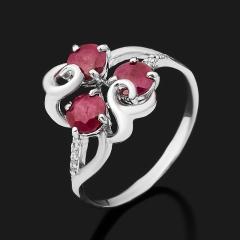 Кольцо рубин Мьянма огранка (серебро 925 пр. родир. бел.) размер 18,5