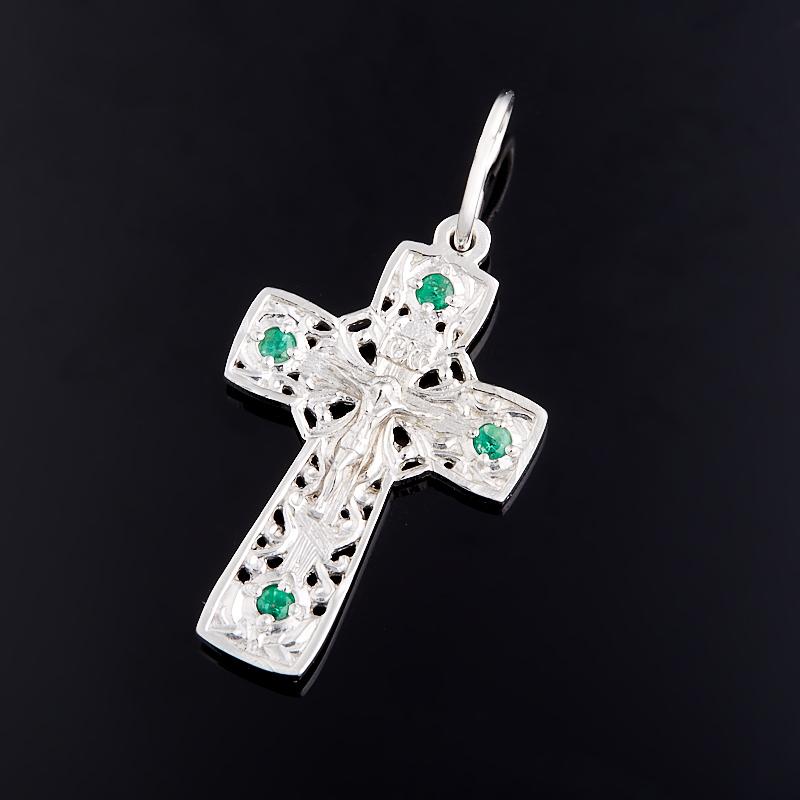 Кулон изумруд крест огранка (серебро 925 пр.)