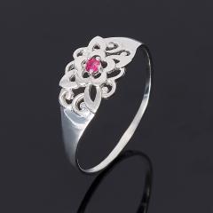 Кольцо рубин Мьянма огранка (серебро 925 пр. родир. бел.) размер 17,5
