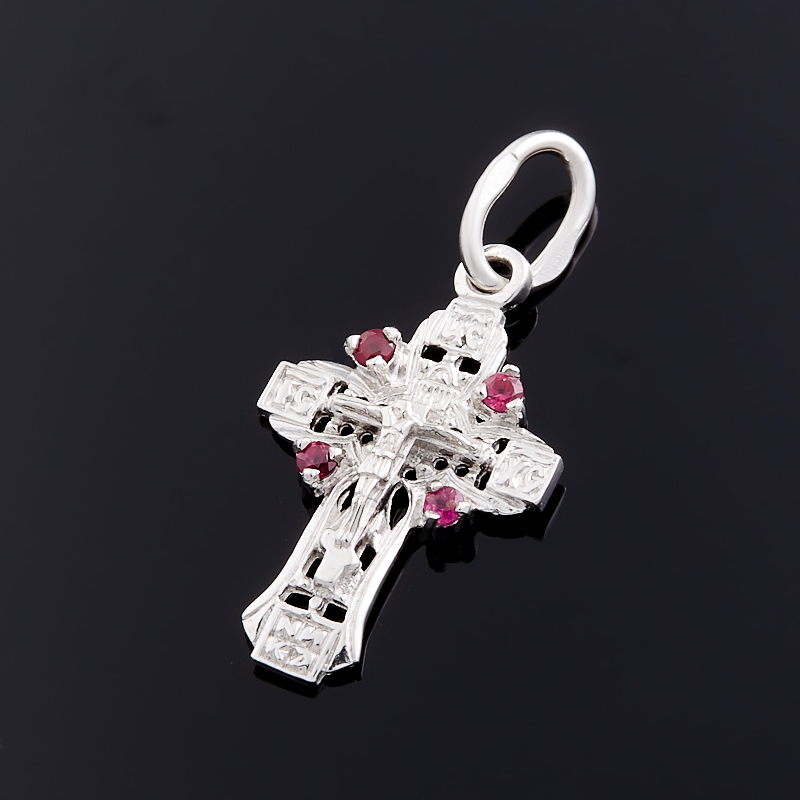 Кулон рубин  крест огранка (серебро 925 пр.)