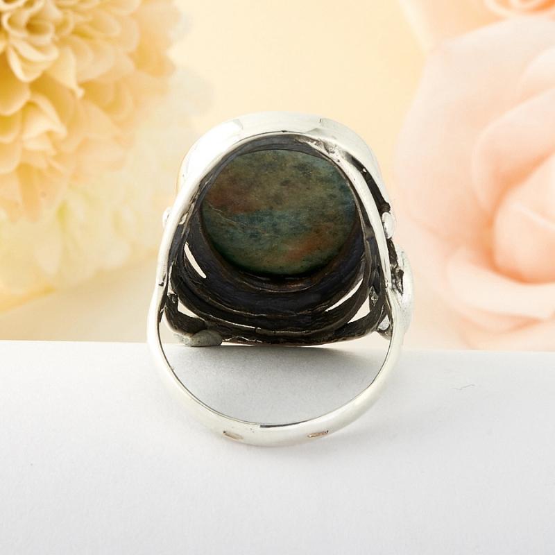 Кольцо везувиан Россия (серебро)  размер 19