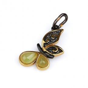 Кулон нефрит зеленый Россия бабочка (серебро 925 пр., позолота)