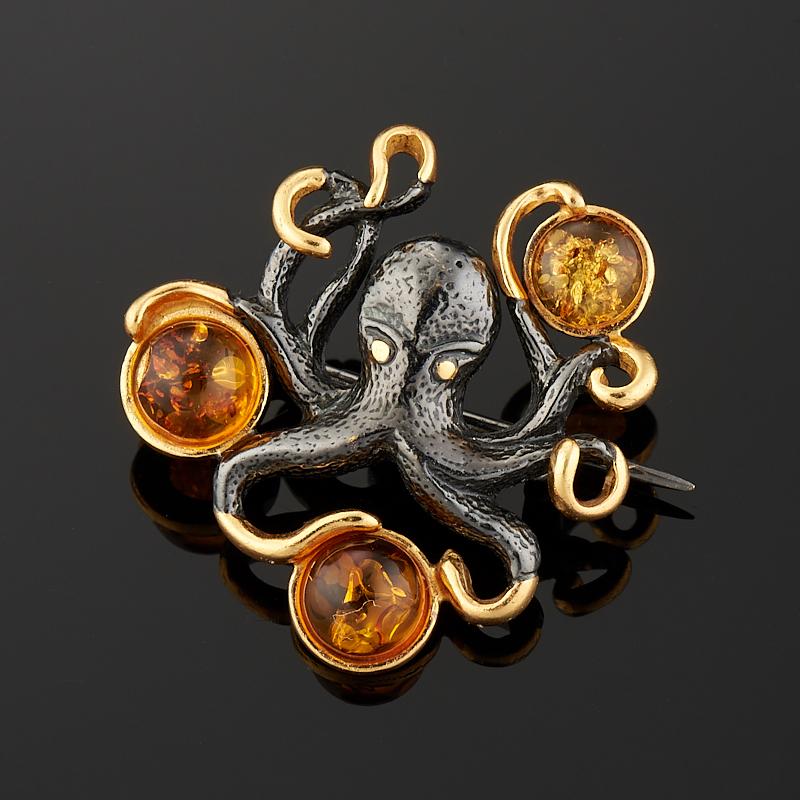 Брошь янтарь (серебро 925 пр., позолота)
