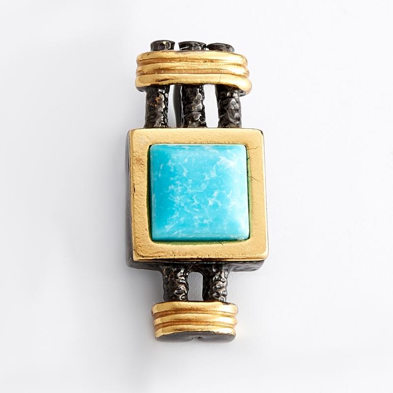 Кулон бирюза (серебро 925 пр., позолота) подвески бижутерные колечки кулон со шнурком кристалл прес бирюза пд кам1308