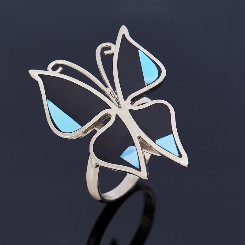 Кольцо агат черный, бирюза (нейзильбер) размер 18,5 кольца колечки кольцо лерос агат
