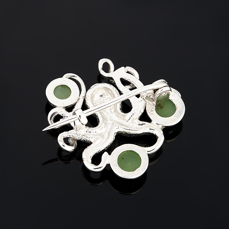 Брошь нефрит зеленый Россия (серебро 925 пр.)