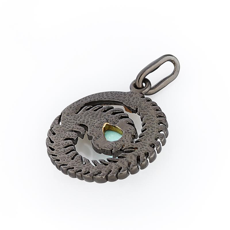 Кулон бирюза Тибет круг (серебро 925 пр., позолота)