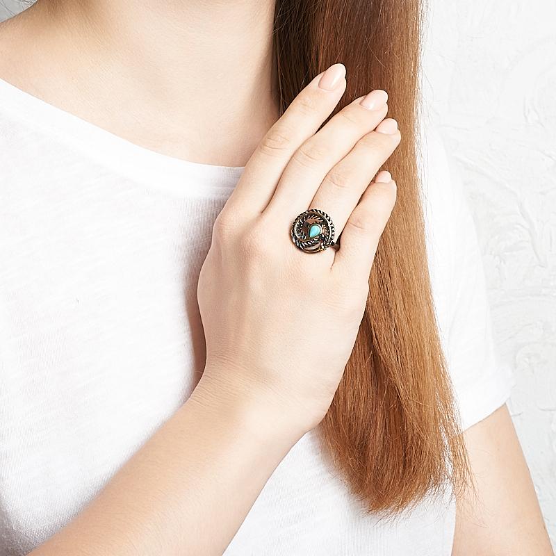 Кольцо бирюза Тибет (серебро 925 пр., позолота, родир. черн.) размер 18