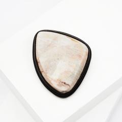 Брошь лунный камень (беломорит) Россия (натуральная кожа)