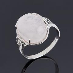 Кольцо розовый кварц Бразилия (серебро 925 пр. родир. бел.) размер 17