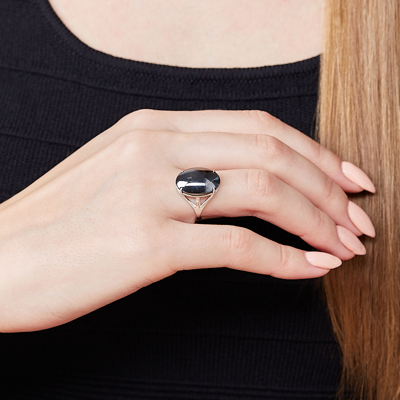 Кольцо гематит Бразилия (серебро 925 пр.) размер 14,5