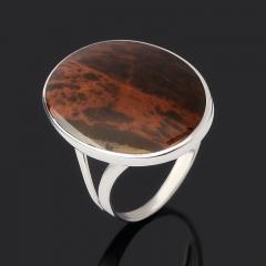 Кольцо обсидиан коричневый Армения (серебро 925 пр. родир. бел.) размер 19