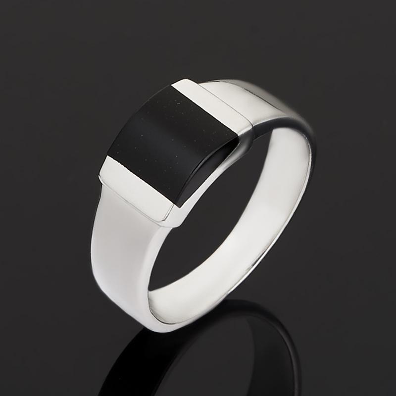 Кольцо агат черный Бразилия (серебро 925 пр.) размер 16,5