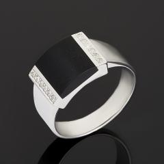 Кольцо агат черный Бразилия (серебро 925 пр.) размер 18