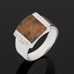 Кольцо агат пейзажный Индия (серебро 925 пр.) размер 17