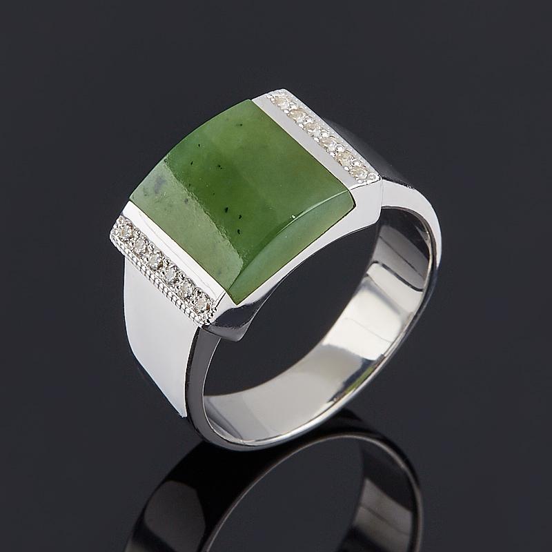 Кольцо нефрит зеленый (серебро 925 пр.) размер 17