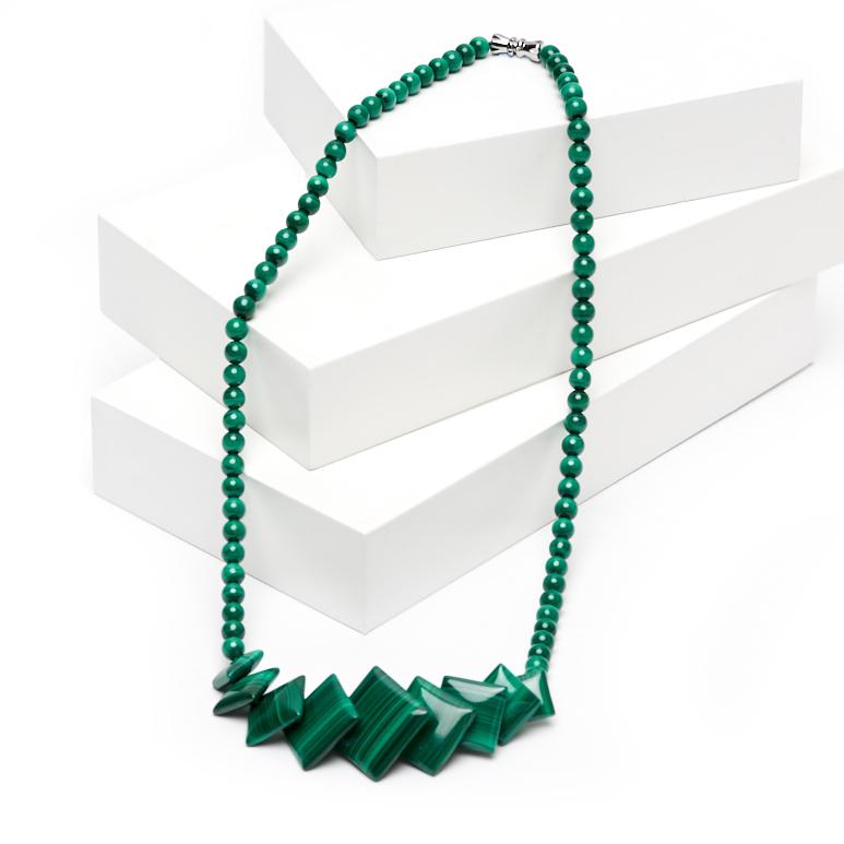Бусы малахит (колье) 42 см (биж. сплав) бусы сердолик колье 2 мм 50 56 см биж сплав