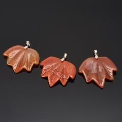 Кулон сердолик Ботсвана лист (биж. сплав) 5-5,5 см