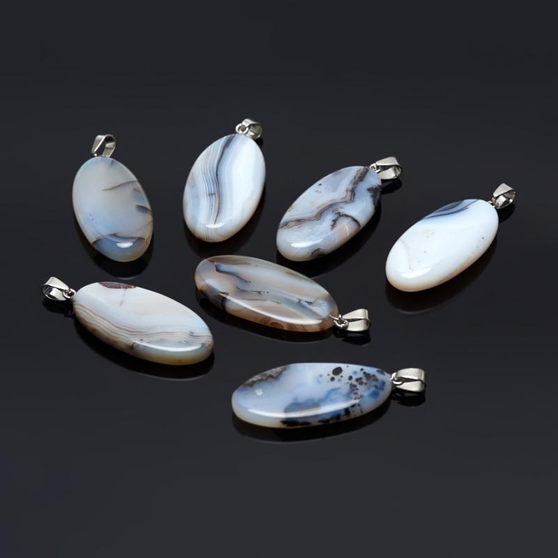 Кулон агат серый овал (биж. сплав) 5 см