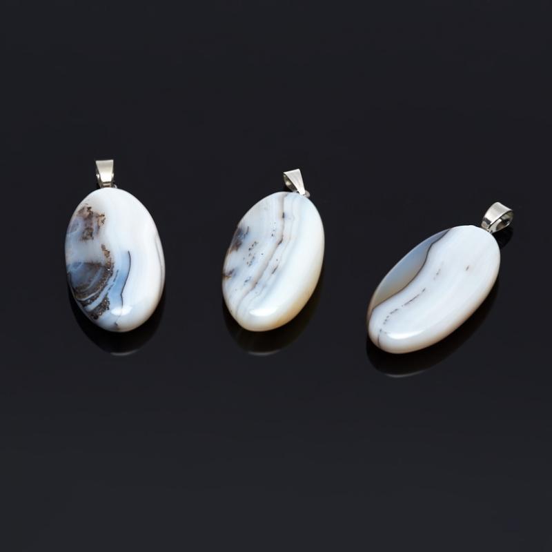 Кулон агат серый Ботсвана овал (биж. сплав) 5 см