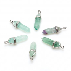 Кулон флюорит зеленый кристалл огранка (биж. сплав) 3,5-4 см