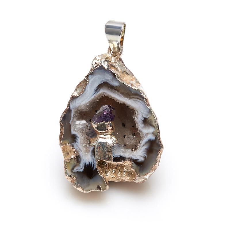 Кулон агат серый жеода с кристаллом аметиста (биж. сплав) 3,5-4 см браслет из аметиста фиолетовая полночь