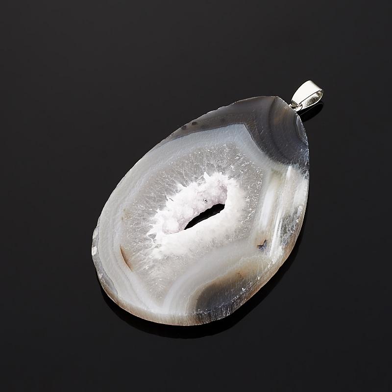 Кулон агат серый Бразилия срез (биж. сплав) 6,5-8 см