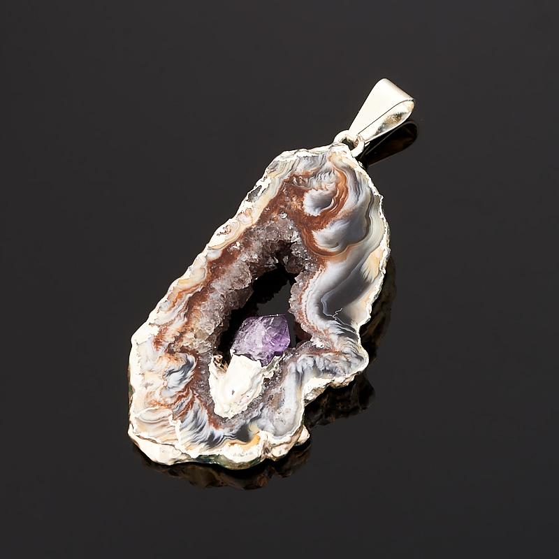 Кулон агат серый срез Бразилия с кристаллом аметиста (биж. сплав) 4-5,5 см