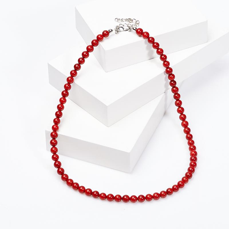 Бусы коралл красный 6 мм 46-52 см (биж. сплав) цена