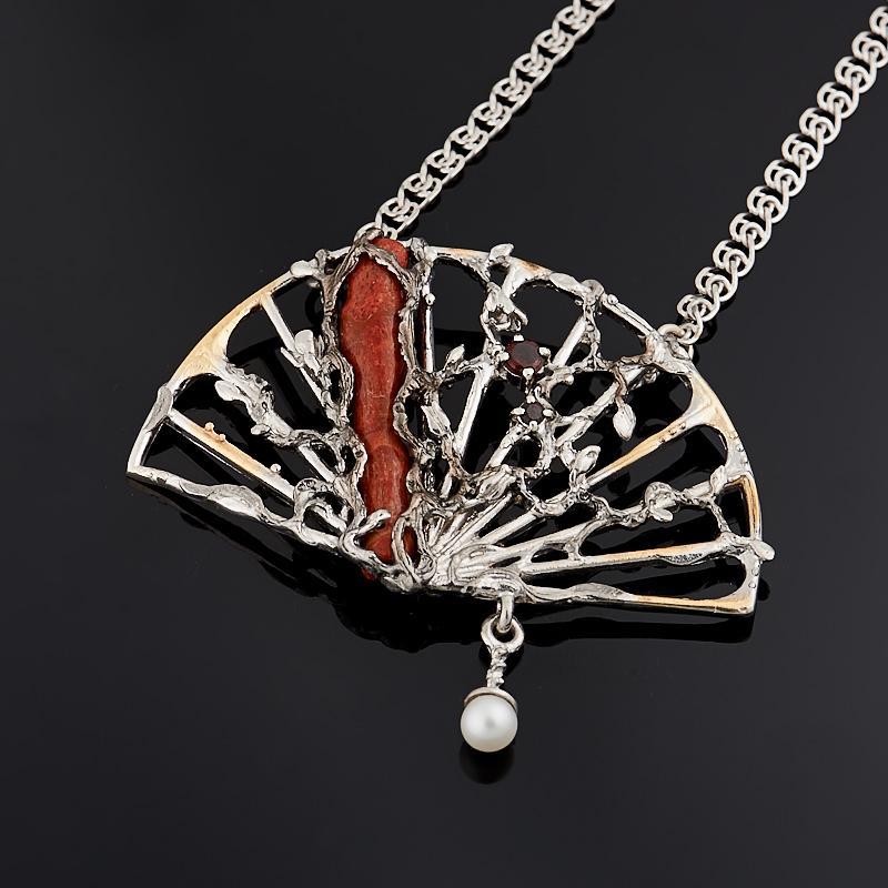 Фото - Кулон коралл красный (серебро 925 пр., позолота) кольцо коралл красный серебро 925 пр позолота размер 20