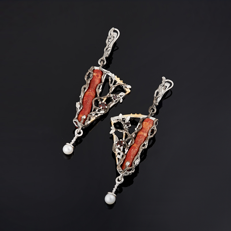 Серьги коралл красный (серебро 925 пр., позолота)