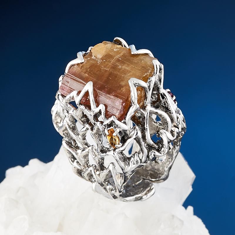 Кольцо турмалин (серебро 925 пр., позолота) размер регулируемый