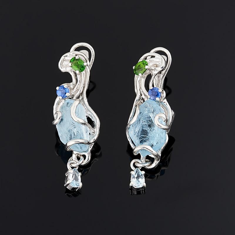 Серьги топаз голубой (серебро 925 пр., позолота) цена