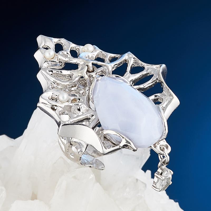 Кольцо агат голубой огранка (серебро 925 пр., позолота) размер регулируемый