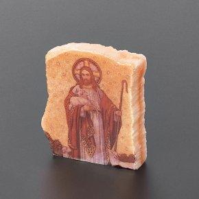 Срез с изображением Иисус Христос Добрый Пастырь селенит Россия 4х5 см