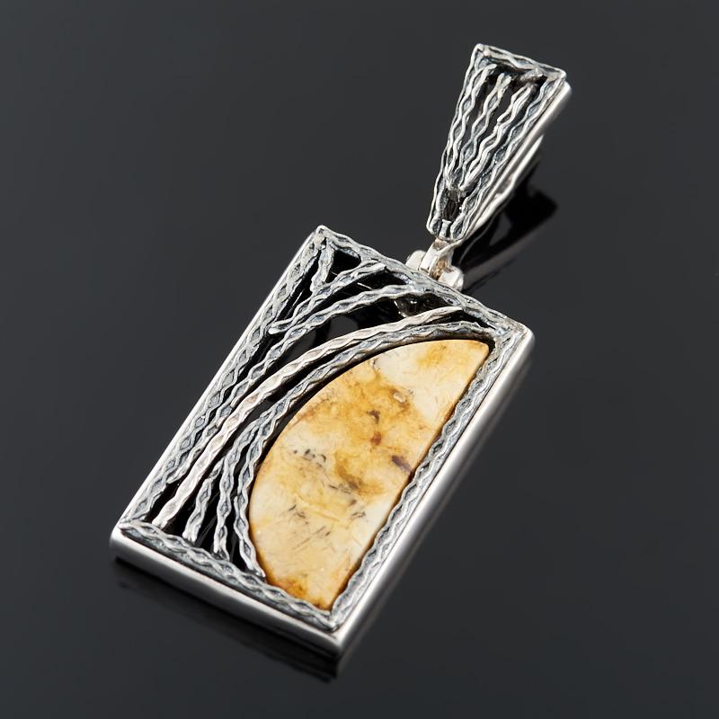 Кулон янтарь (серебро 925 пр. оксидир.)
