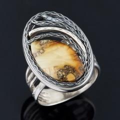 Кольцо янтарь Россия (серебро 925 пр.) (регулируемый) размер 17