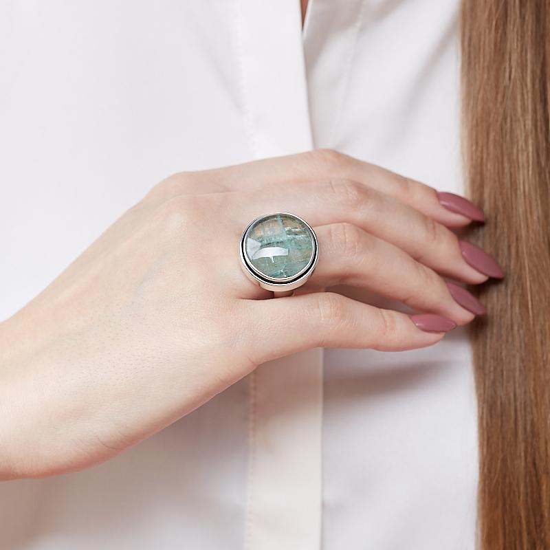 Кольцо берилл Россия (серебро 925 пр.) размер 18