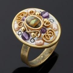 Кольцо аметист (латунь)  (регулируемый) размер 17,5