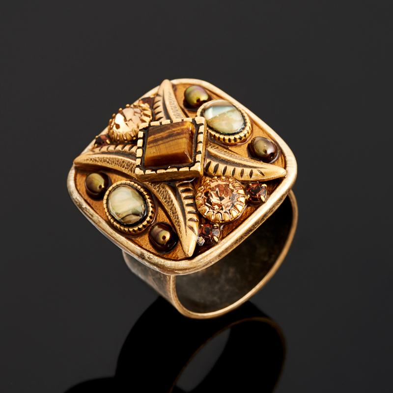 Кольцо тигровый глаз (латунь) размер регулируемый кольца колечки кольцо лаватера тигровый глаз