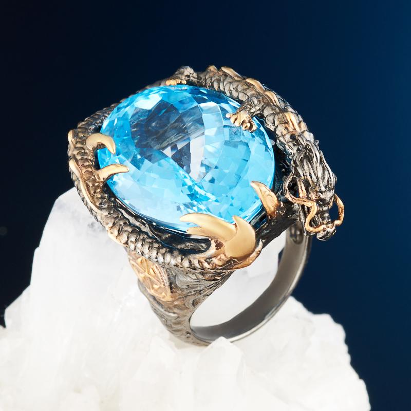 Кольцо топаз голубой огранка (серебро 925 пр., позолота) размер 17 кольцо коюз топаз кольцо т148011522
