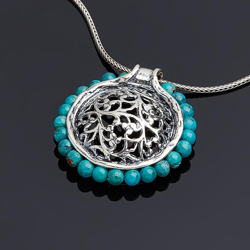 Кулон бирюза пресс Тибет круг (серебро 925 пр. оксидир.)